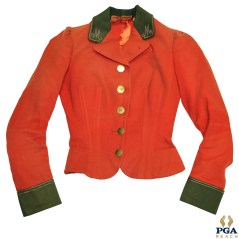Time-Period British Style Red Golf Club Waistcoat w/ 'M' Stitching on Collar - Ladies Cut