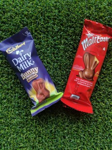Cadbury's Mousse Bunny bar and Malteaser's bunny bar
