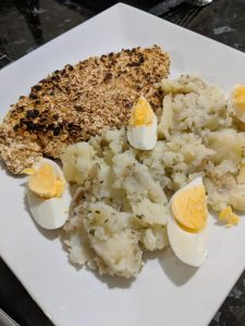 Fried Turkey with potato and egg