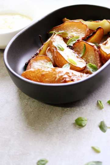 Roasted pears with fresh basil