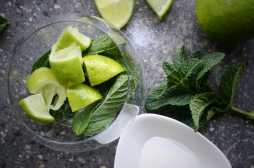 Mint sugar and limes