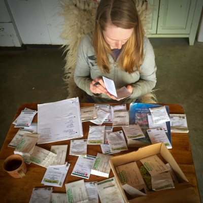 Farmer and seed packets, making a flower plan