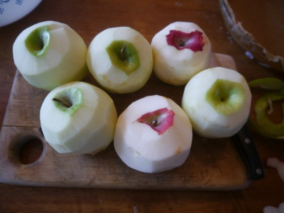 peeled apples for Nana's apple pie