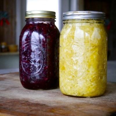 homemade beet kraut and curry kraut