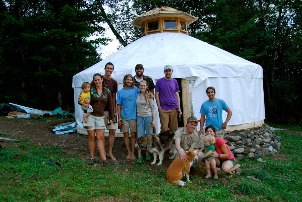 Yurt raising at Good Heart Farmstead, it's important to have helping hands when starting a farm