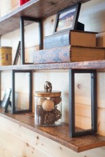 photo of barn board and iron shelves