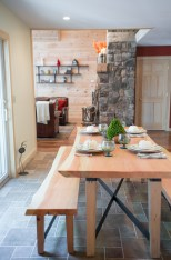 photo of live edge dining table and bench