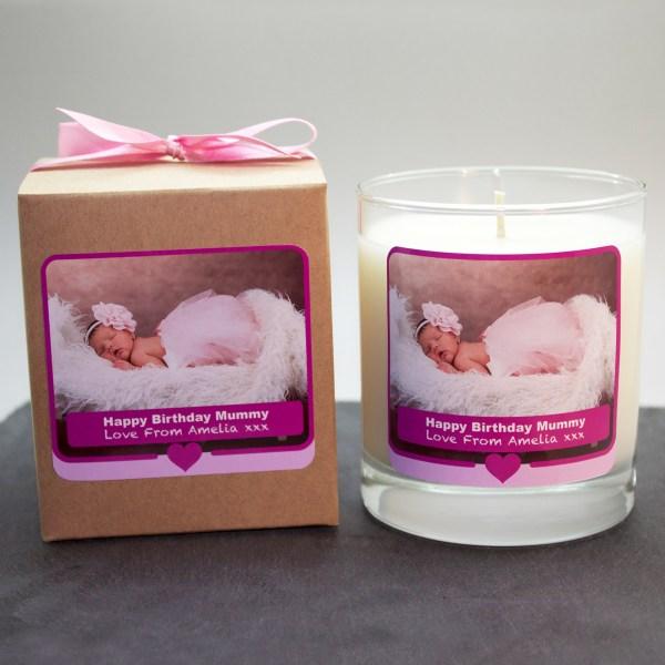 personalised photo candle