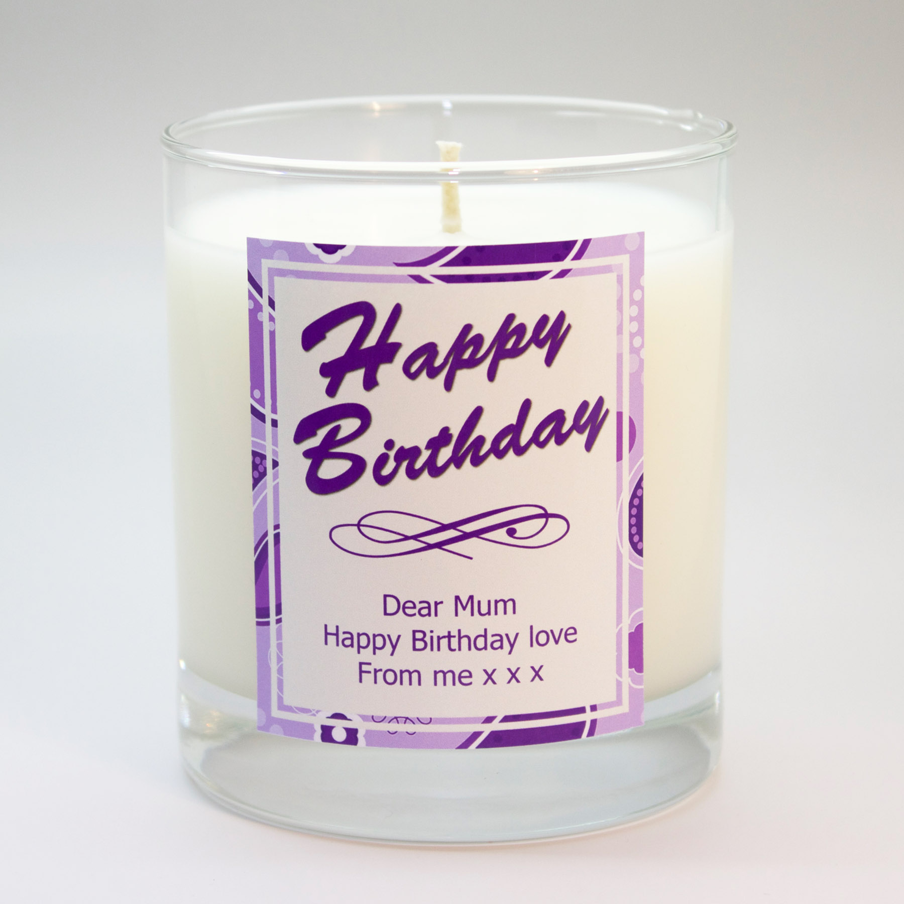 purple paisley personalised scented candle free gift box the
