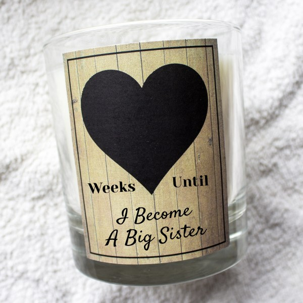 Weeks until I Become a Big Sister countdown chalk board candle