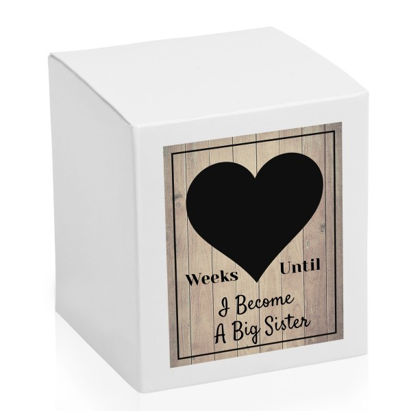 Weeks until I become I Become a Big Sister countdown chalk board candle box