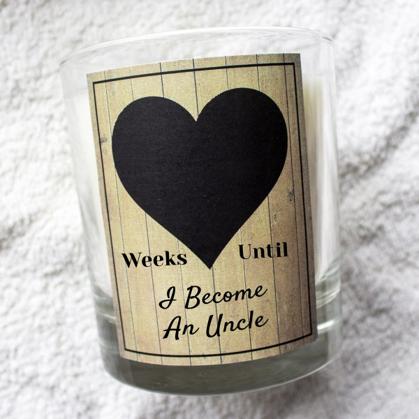 Weeks until I become an Uncle countdown chalk board candle