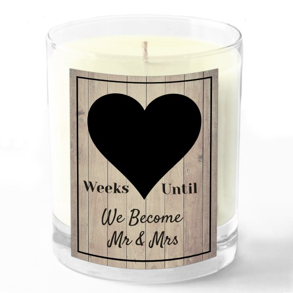 Weeks until We become mr and mrs candle white background no number