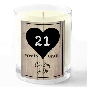 Weeks until until we say I do candle white background