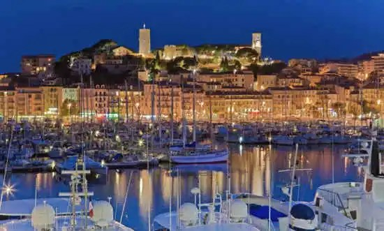 Cannes harbour at night