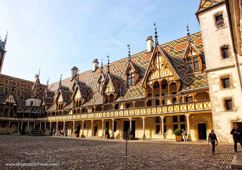 Hospices de Beaune building, a medieval hospital with colourful tiled roof