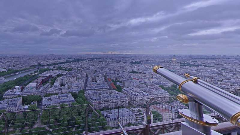Looking out over all of Paris from the viewing platform of the Eiffel Tower
