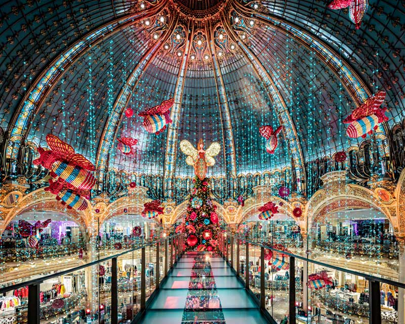 Huge glass dome lit up at night and decorated for Christmas