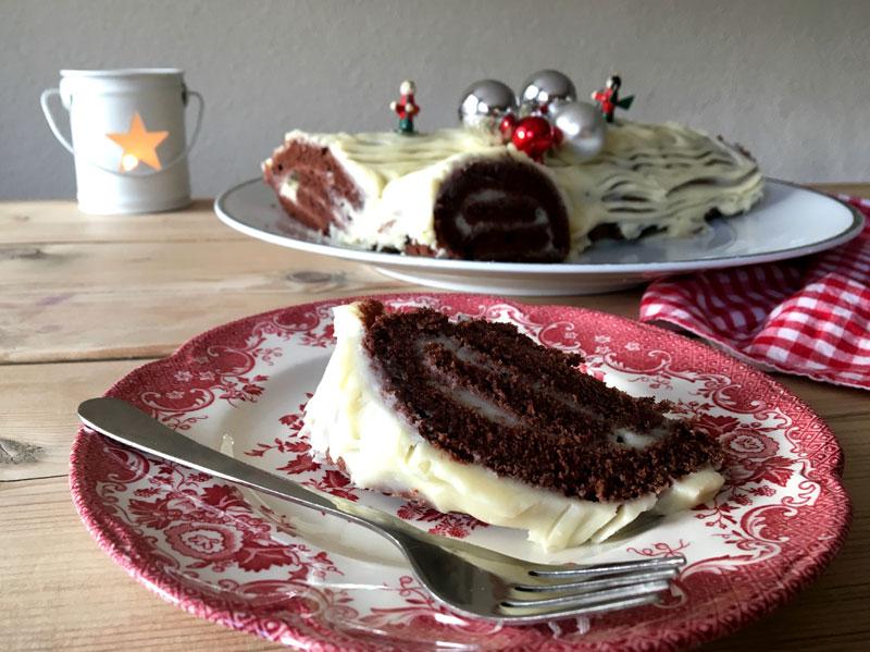 Slice of French Buche de Noel, yule log cake