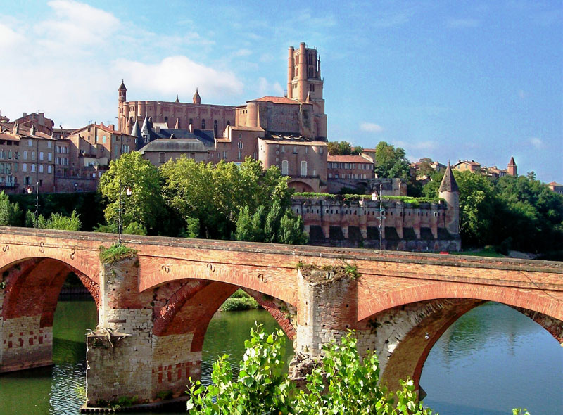 Arched stone bridge in the city of Albi, southern France
