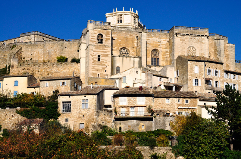 White stone chateau on a hill in Grignam, Drome, southern France
