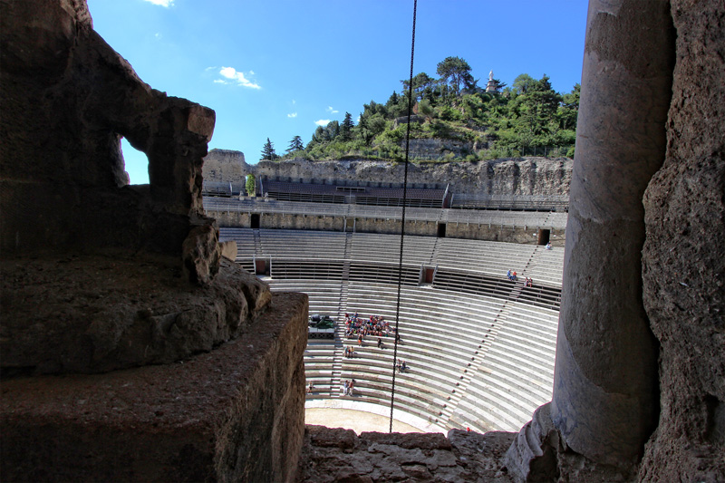 The Roman theatre, Orange Provence, view from the top of the theatre wall looking over seating