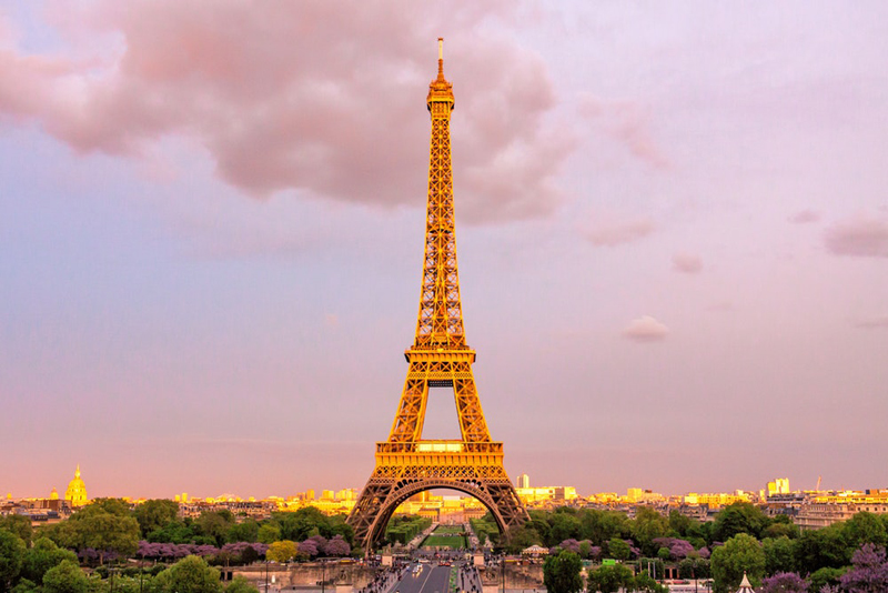 Eiffel Tower Paris, the iron tower gleams in the afternoon sun