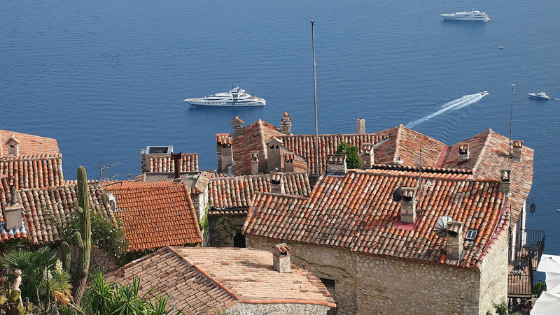 Roof top view of the Mediterranean Sea from Eze, a hill top town in the south of France