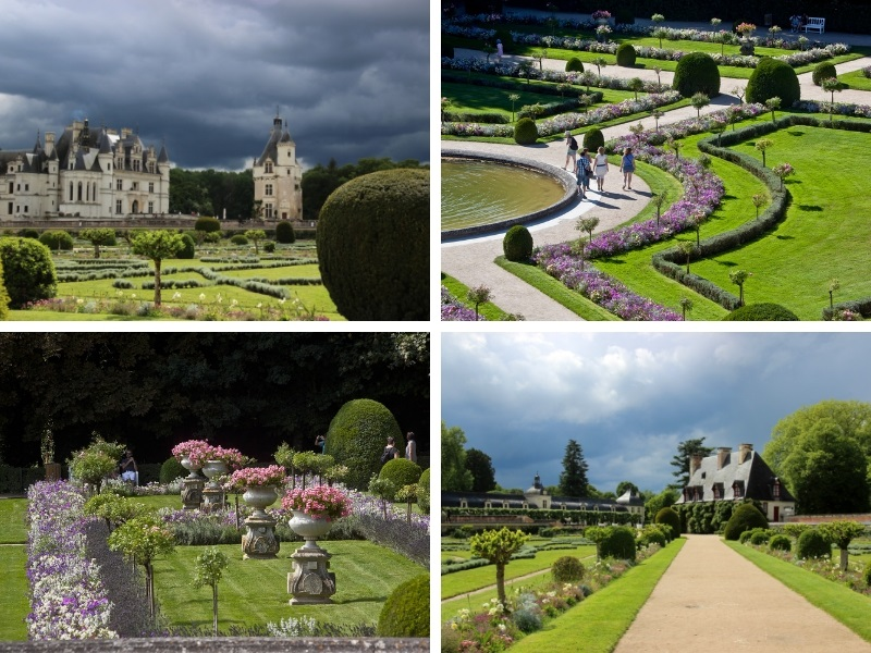 Verdant lawns, stone urns filled with blooming flowers, small trees and topiary, formal garden style with low hedges