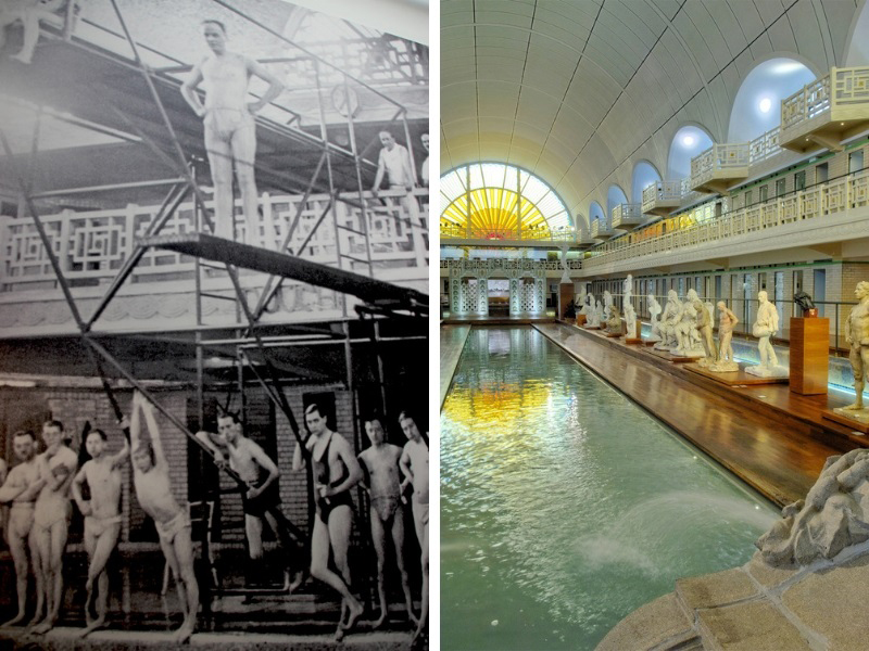 Black and white image of men in swimming trunks at La Piscine Roubaix when it was a pool