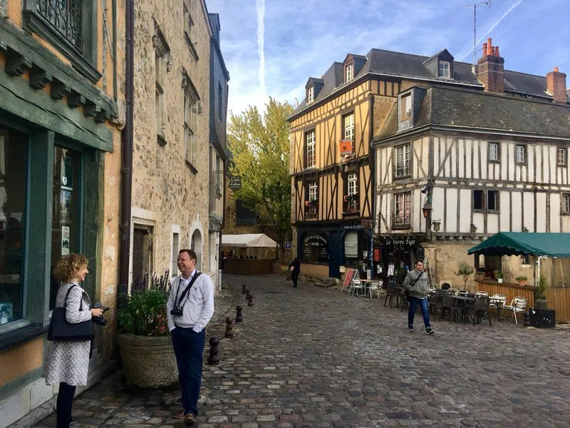 Cobbled street lined with beautiful half timbered buildings in Le Mans, France