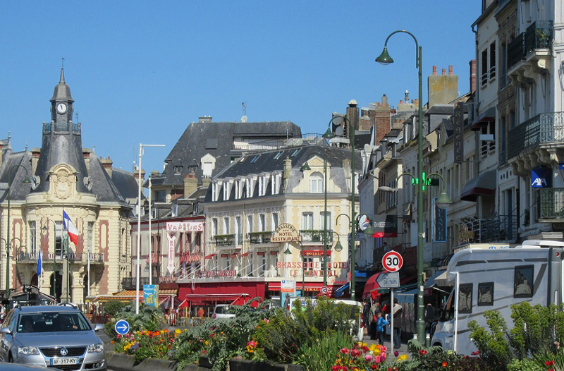 Trouville, Normandy with its casino and busy streets full of shops and restaurants