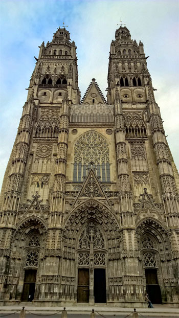 Gothic facade of the Cathedral of Tours Loire Valley, intricate carvings and statues glaore