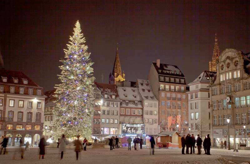 Christmas tree on Place Kleber, Strasbourg, the tallest Christmas tree in Europe