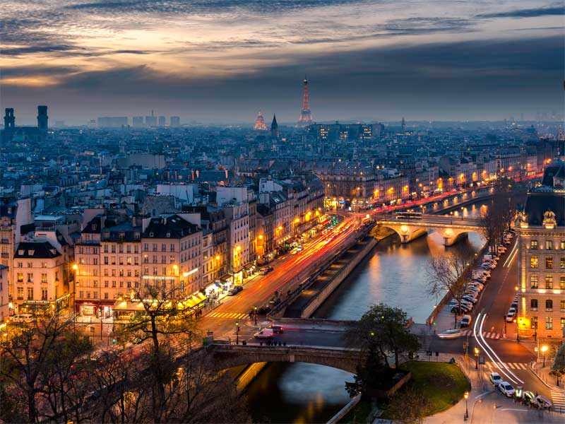 View over Paris skyline at dusk