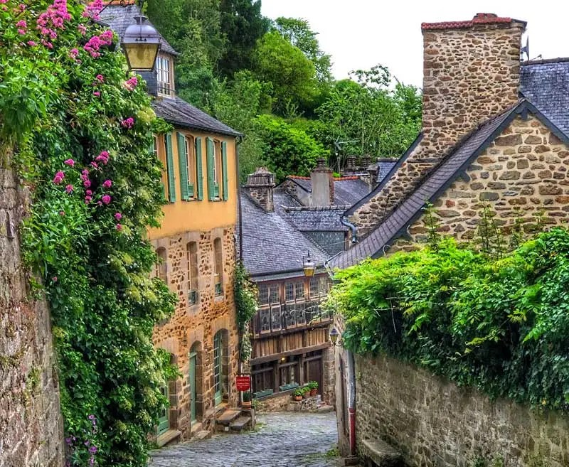 view of a steep cobbled hill lined with ancient houses dripping with flowering roses, Dinan, Brittany