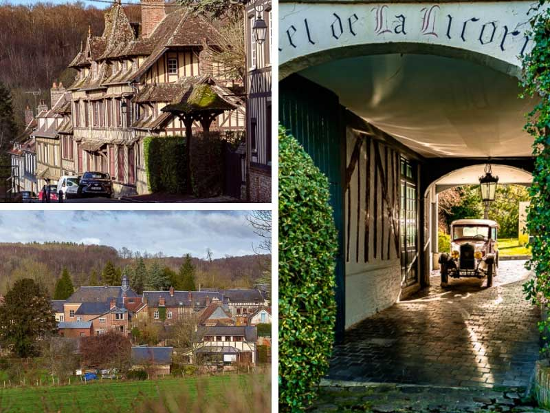 Scenery photos of Lyons-la-Foret, a medieval village with old houses and cobbled streets in Normandy