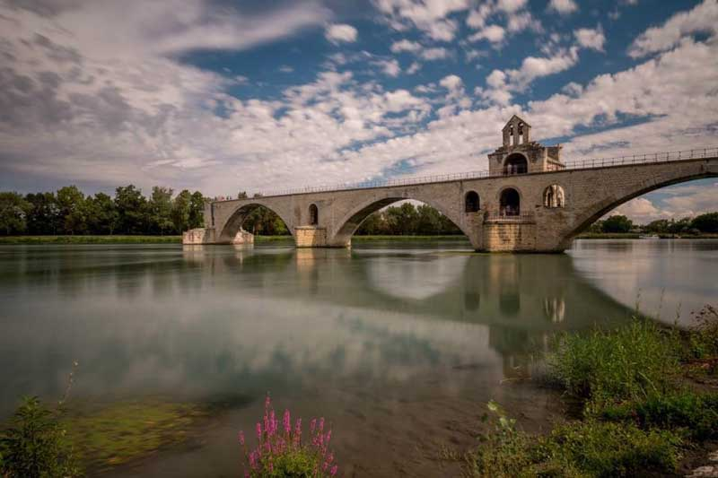 Ruined bridge across the Rhone River, the famous Pont d'Avignon