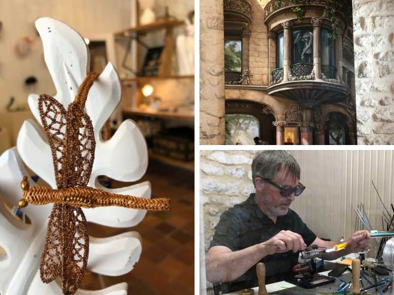 Artisans at work in Talmont-sur-Gironde, glass maker, painter and jewellery creator
