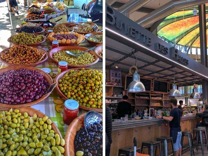 Bowls of olives of different colours at the market in Montpellier