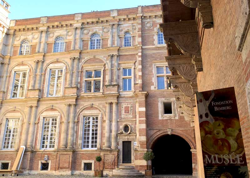 Huge red brick mansion house now the Fondation Bemberg Museum, Toulouse