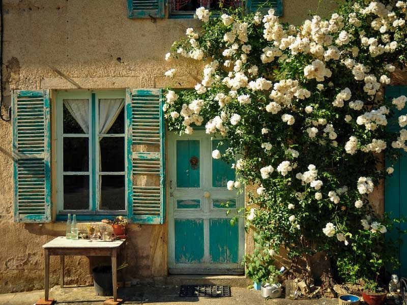 Pretty house in France with roses growing round the door and table laid for lunch in the garden