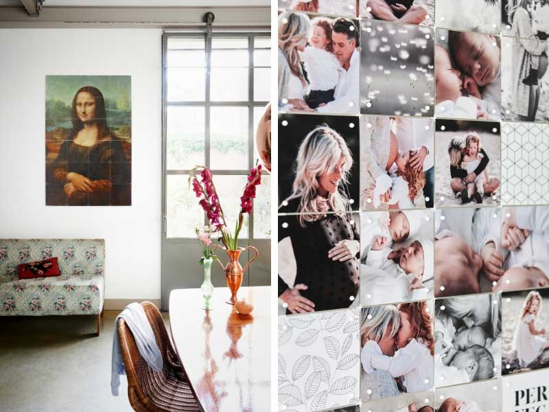 Collage of personal photos mounted on a wall