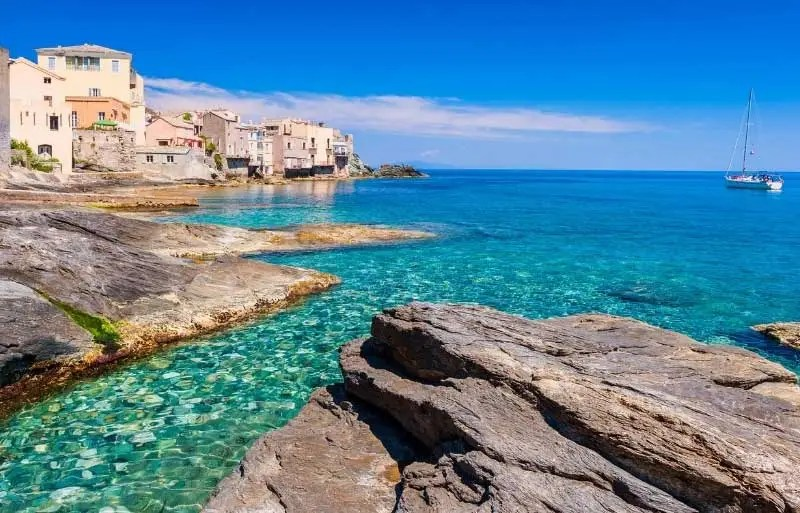 Clear blue waters of the Mediterranean sea lapping a tiny town on the island of Corsica