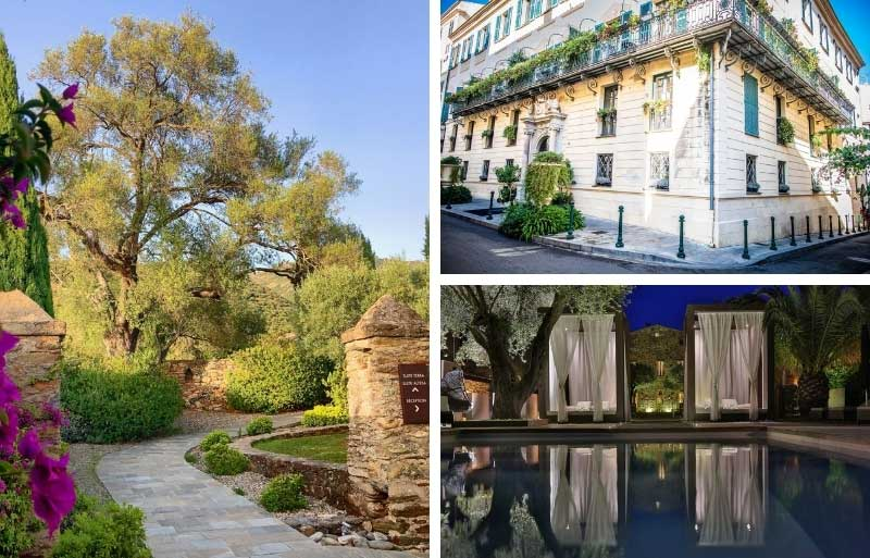 Hotel with pool and curtained day beds in Corsica
