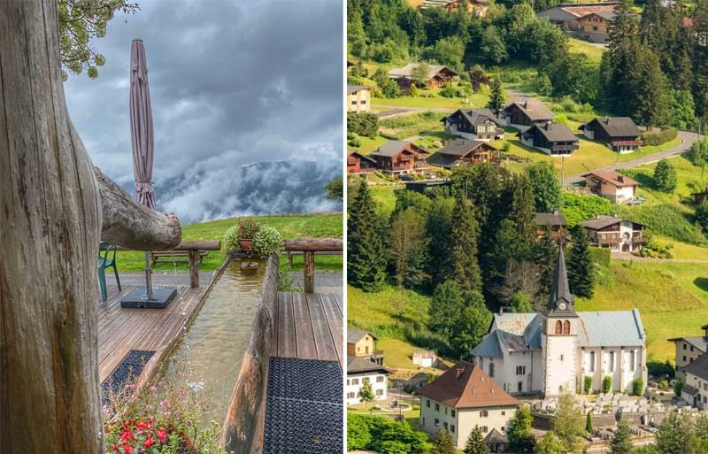 Hiking routes in Les Gets past charming chalets and mountain views