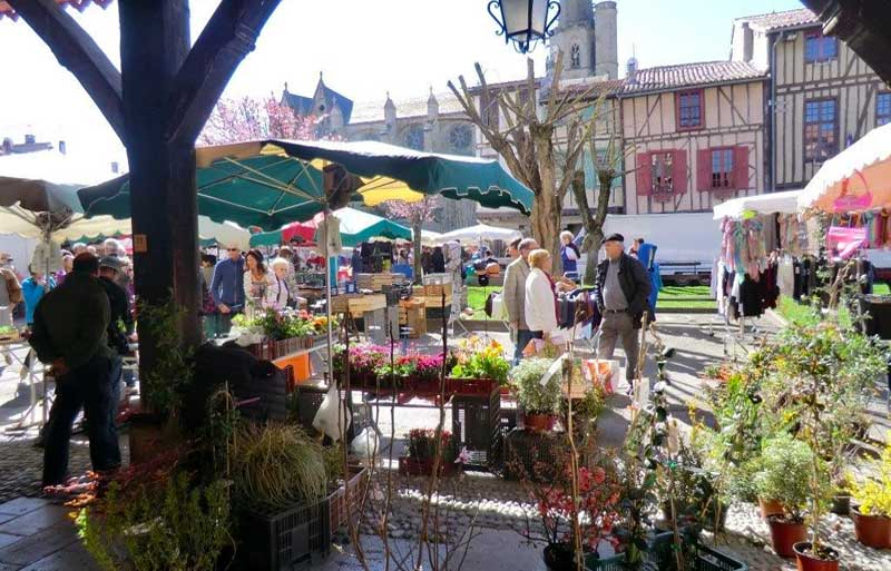 Market scene at the little town of Mirepoix