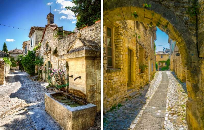 Cobbled street and medieval buildings, water troughs and vines growing up walls in Vaison-la-Romaine