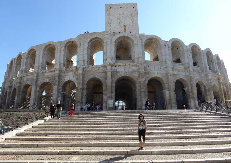 Steps leading to the great Roman amphitheatre of Arles, Provence