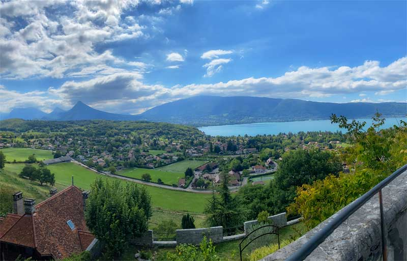 View over Annecy Lake from the Chateau of Menthon-Saint-Bernard, Annecy